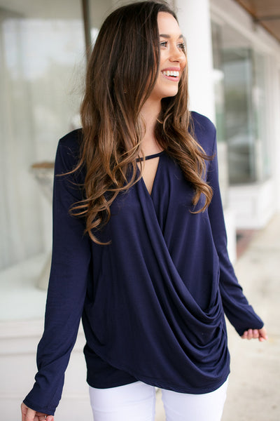 Navy Surplice Front Long Sleeve Top