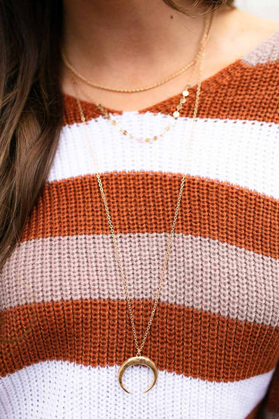 Layered Gold Crescent Necklace