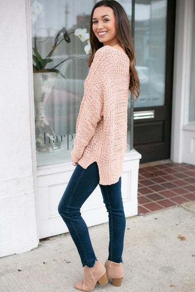 Mary Hannah Loose Knit Sweater in Peach