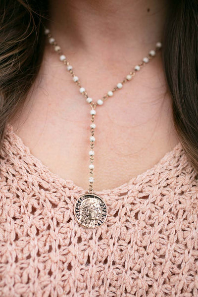 Beaded Drop Y Necklace with Coin