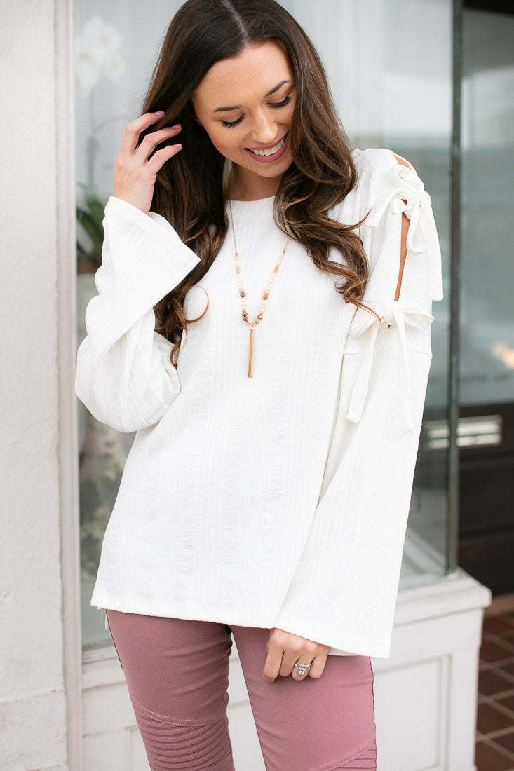Ivory Tie Sleeve Ribbed Cotton Top
