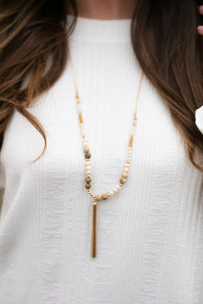 Neutral Beaded Bar Necklace