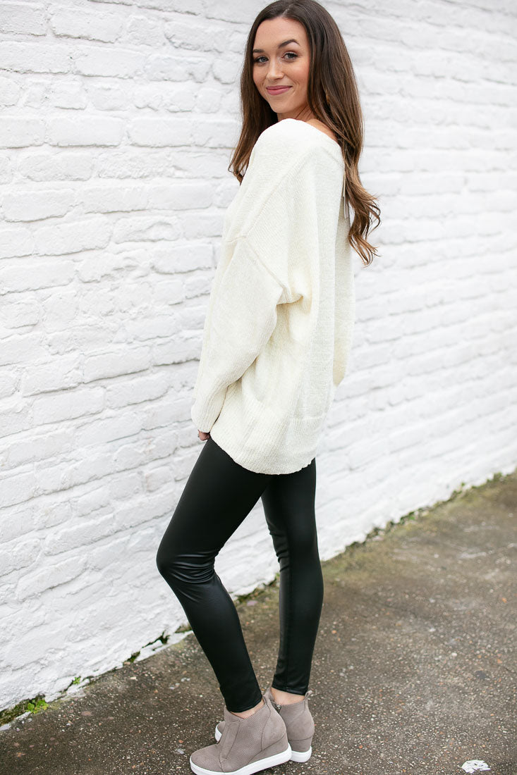 Ivory Chenille Dolman Sleeve Sweater