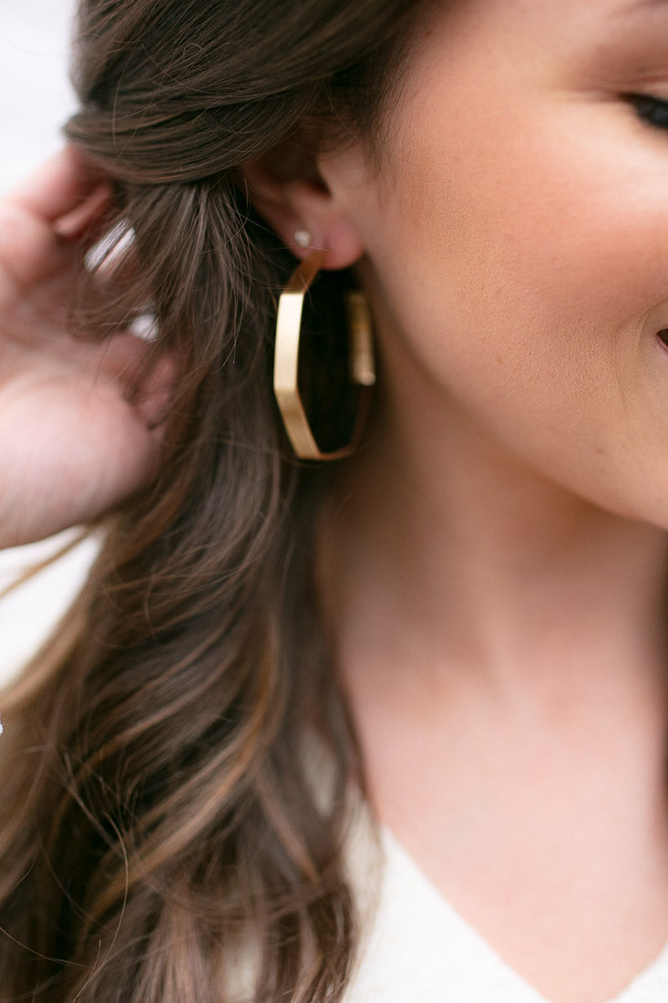 Gold Geometric Shape Hoop Earrings