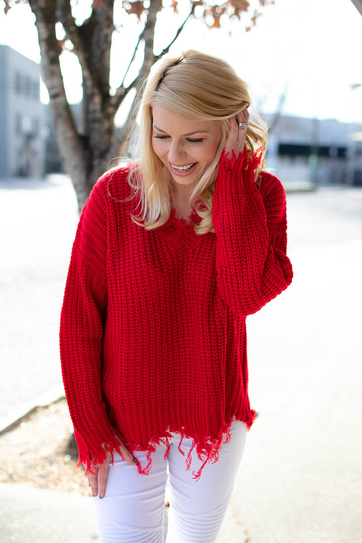 Red Frayed Oversized Sweater