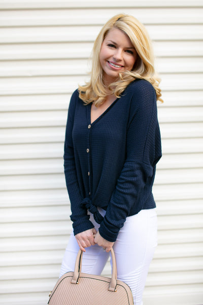 Navy Button Up Tie Front Top