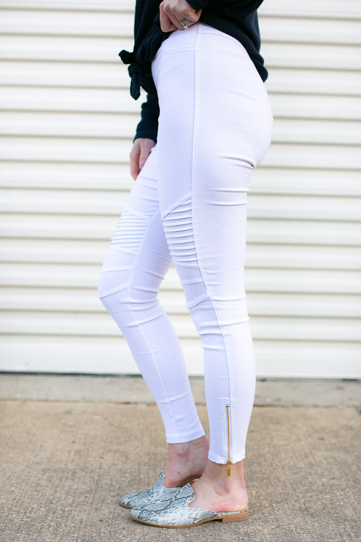 Sooner Or Later Off White Moto Jeggings