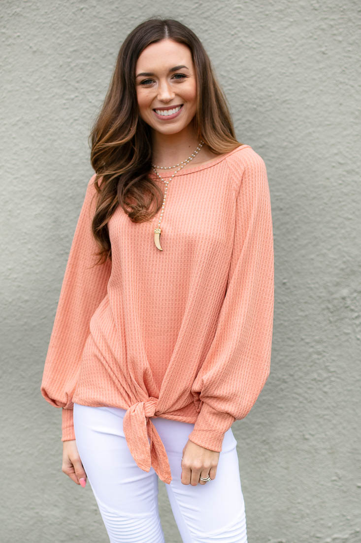 Peach Wide Neck Waffle Knit Top