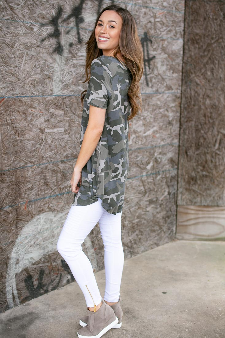 Muted Camo Casual V Neck Tunic