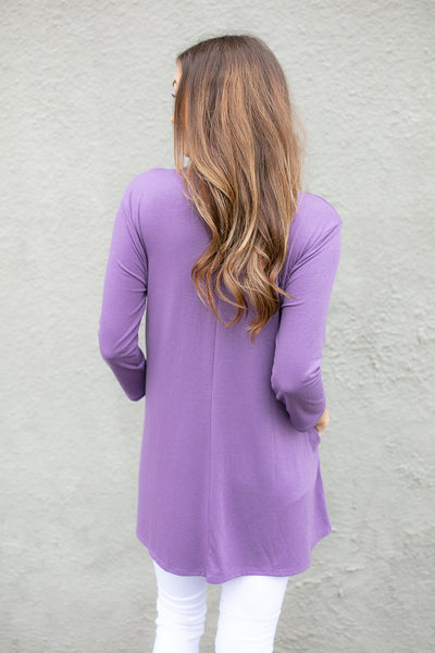 Pocket of Love Keyhole Tunic in Purple