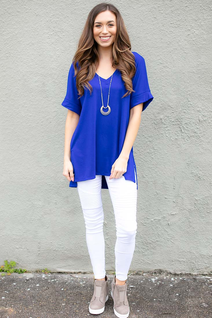 Women's Casual Blue Dolman Sleeve Top