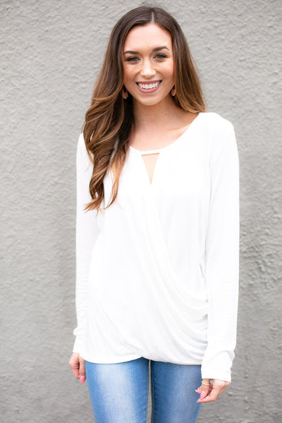 Ivory Surplice Front Long Sleeve Top