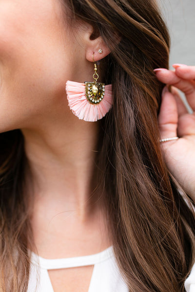 Perfectly Pink Tassel Statement Earrings