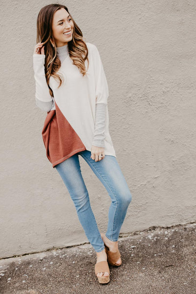 Color Block Dolman Sleeve Top