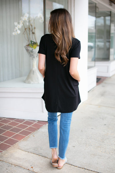 Pocket of Love Keyhole Tunic in Black