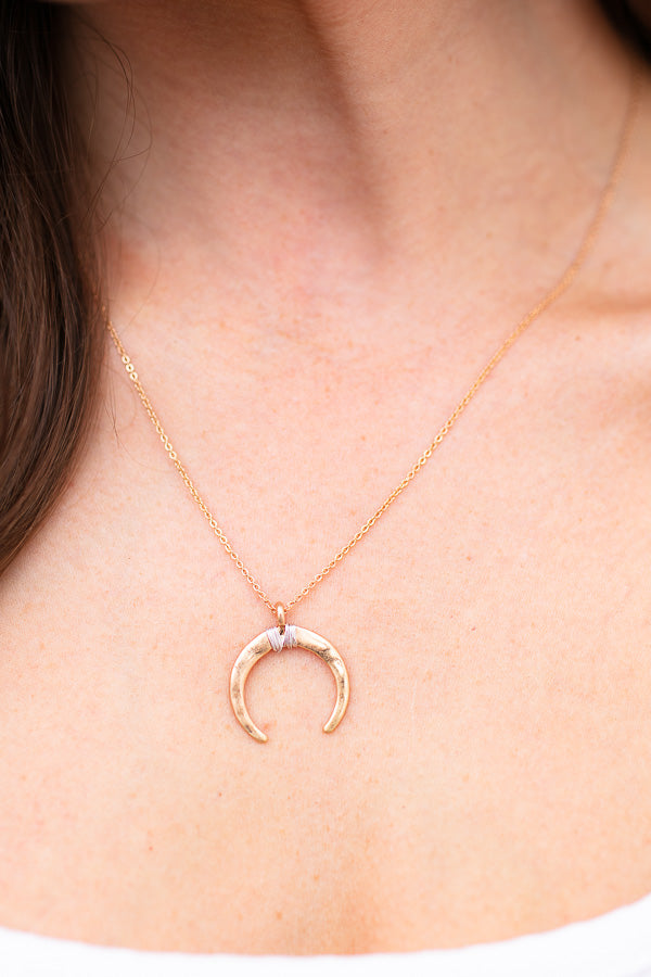 Dainty Boho Gold Crescent Necklace