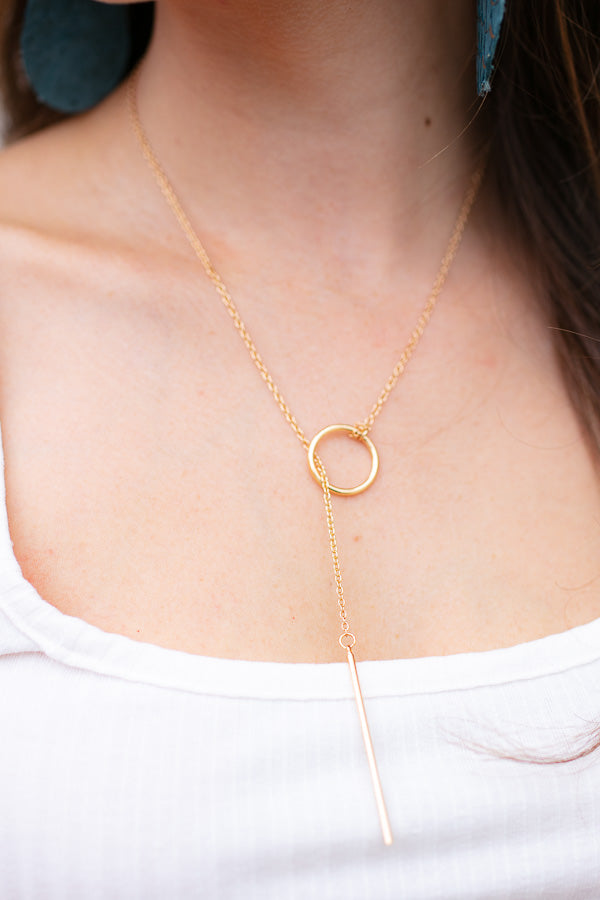 Adjustable Y Necklace Gold