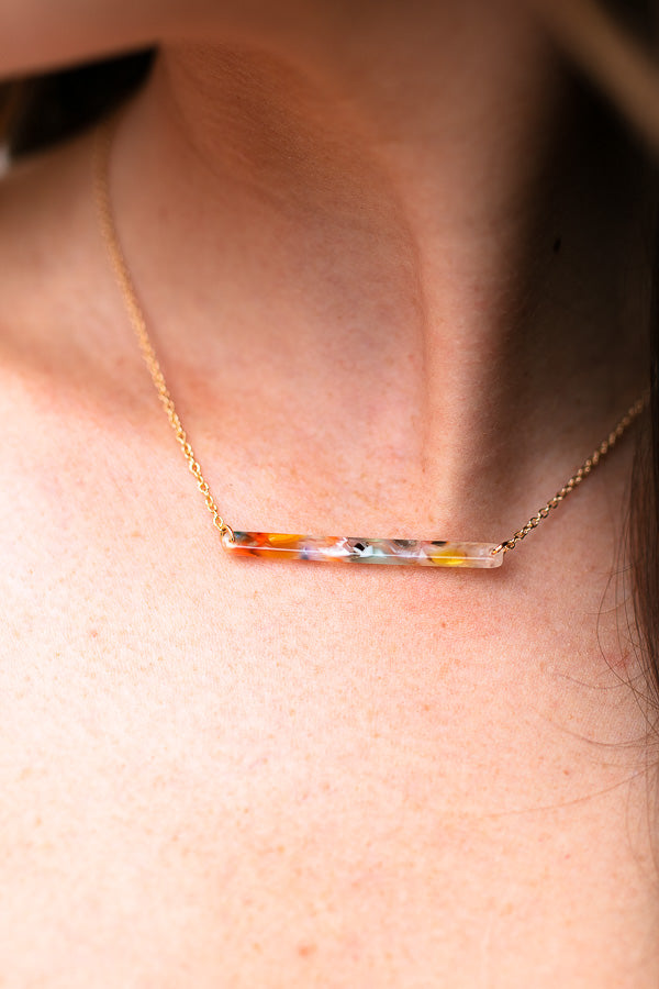 Multi Color Resin Bar Necklace