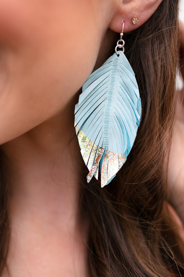In the Sky Blue Leather Earrings