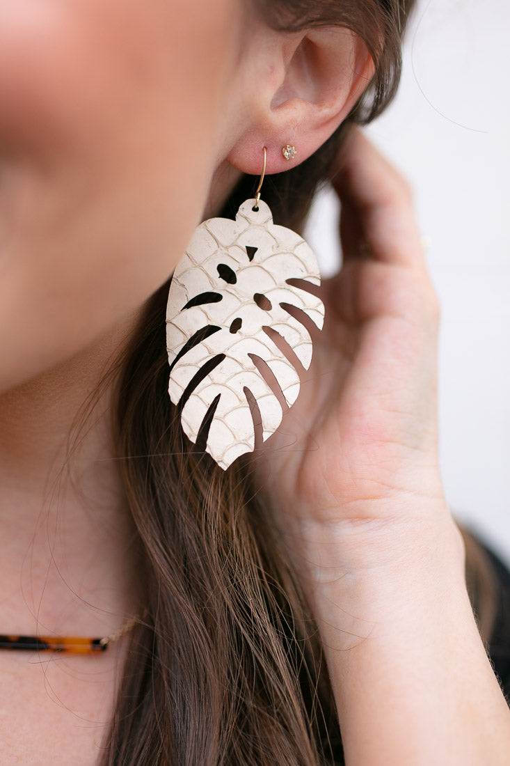Neutral Tropical Palm Leather Earrings