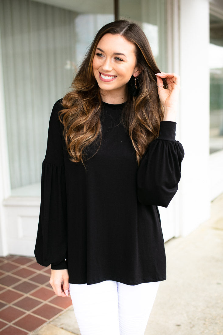 Black Bubble Sleeve Top