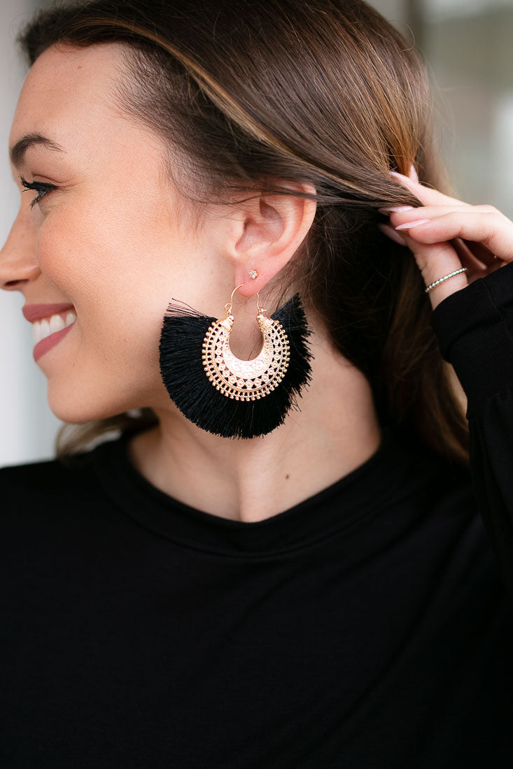 France Large Statement Earrings in Black