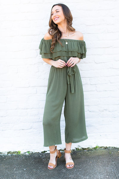 Off Shoulder Olive Romper with Ruffle Detail