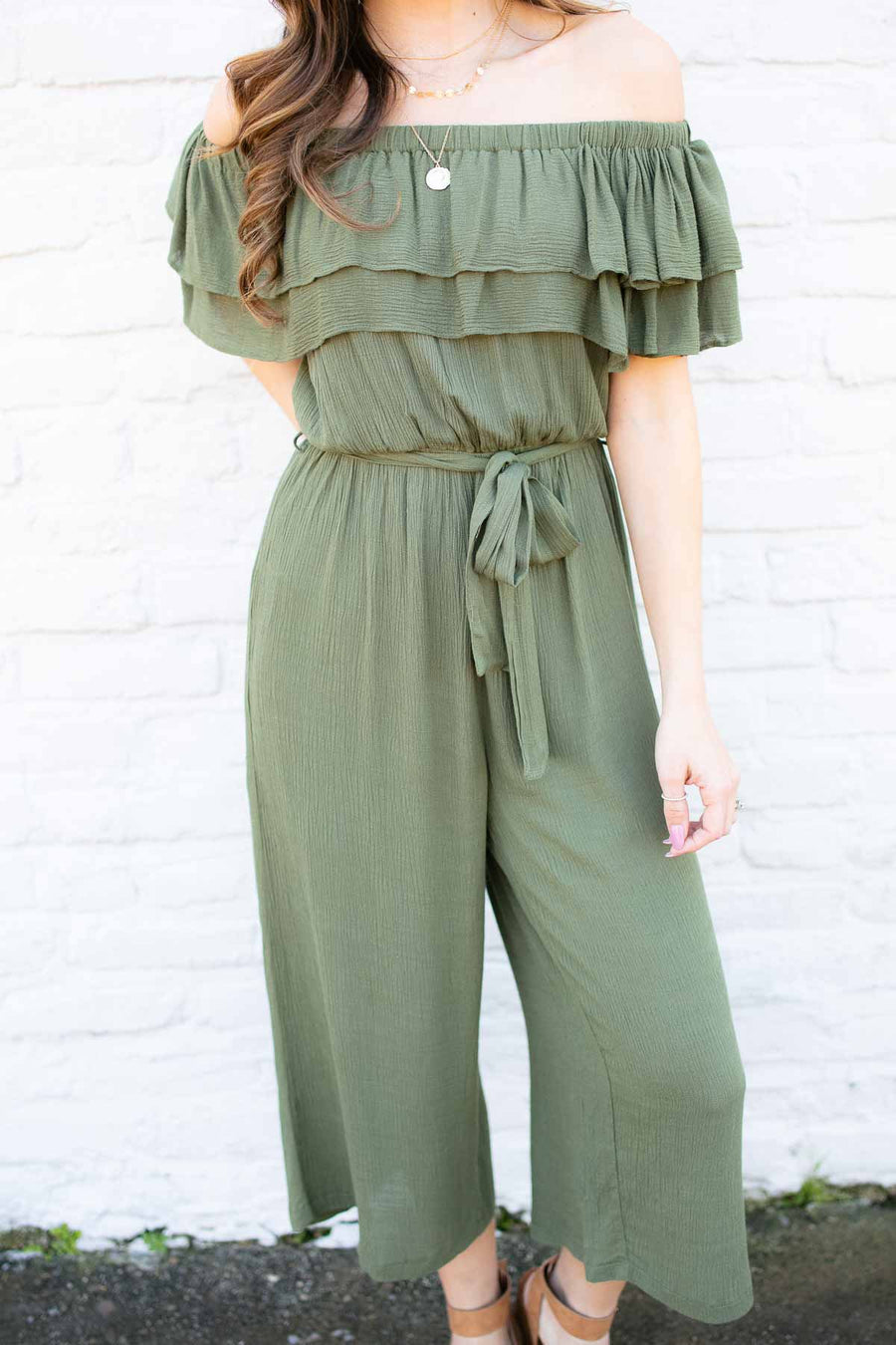 b1829f921996 Off Shoulder Olive Romper with Ruffle Detail
