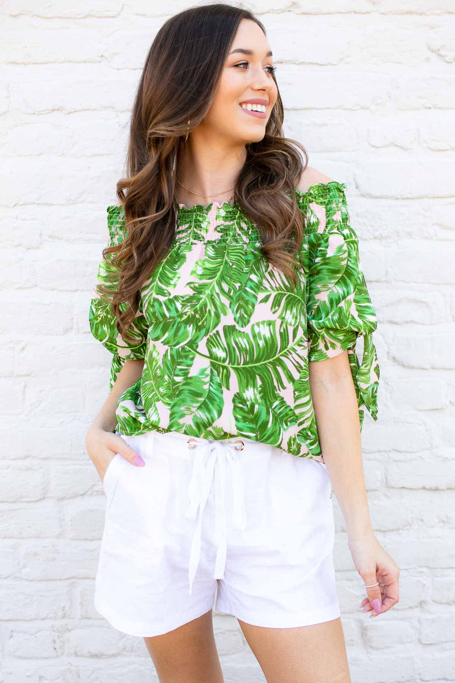 Tropical Print Off Shoulder Top
