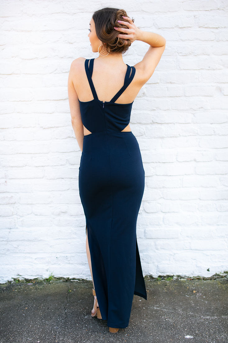 Feeling Free Cut Out Navy Maxi Dress