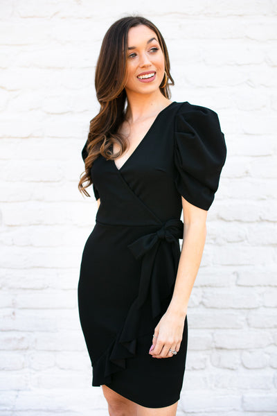Remind Me Mock Wrap Black Dress