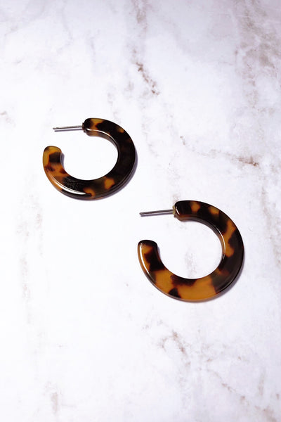 Thick Tortoise Hoop Earrings