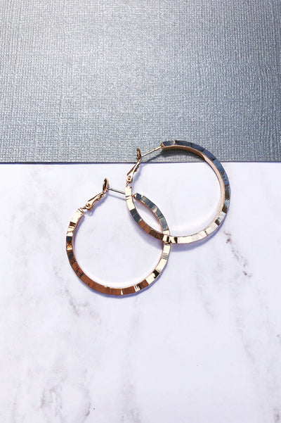 Gold Textured Medium Hoop Earrings
