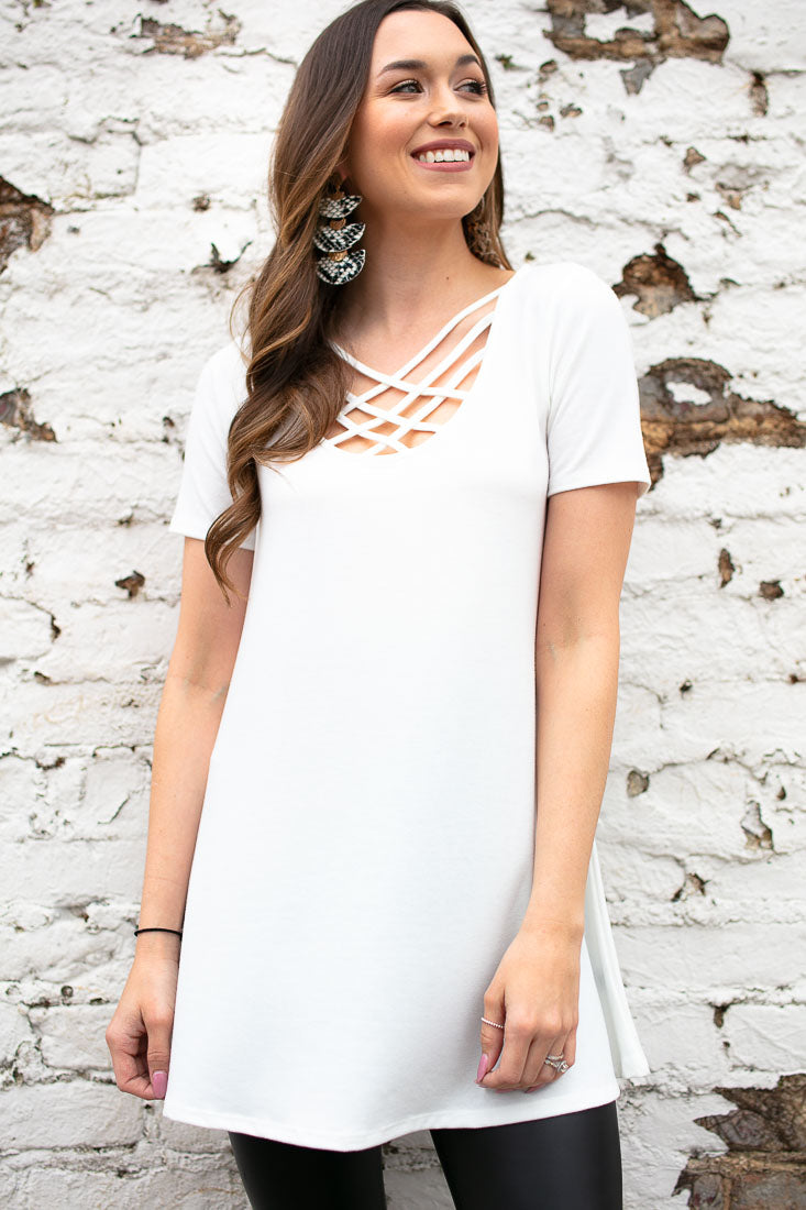 f907a21a49 Ivory Crisscross Front Tunic