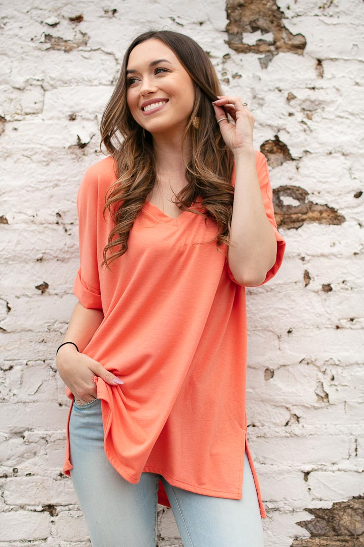 Women's Casual Dolman Sleeve Top in Coral
