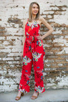 New Ways Red Floral Jumpsuit
