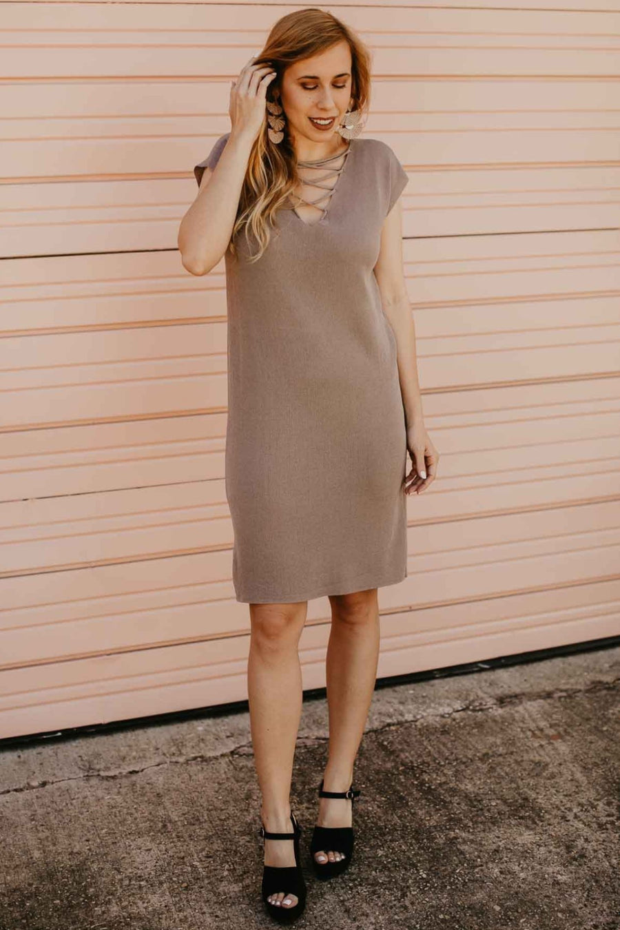 Taupe Lace Up Knit Midi Dress