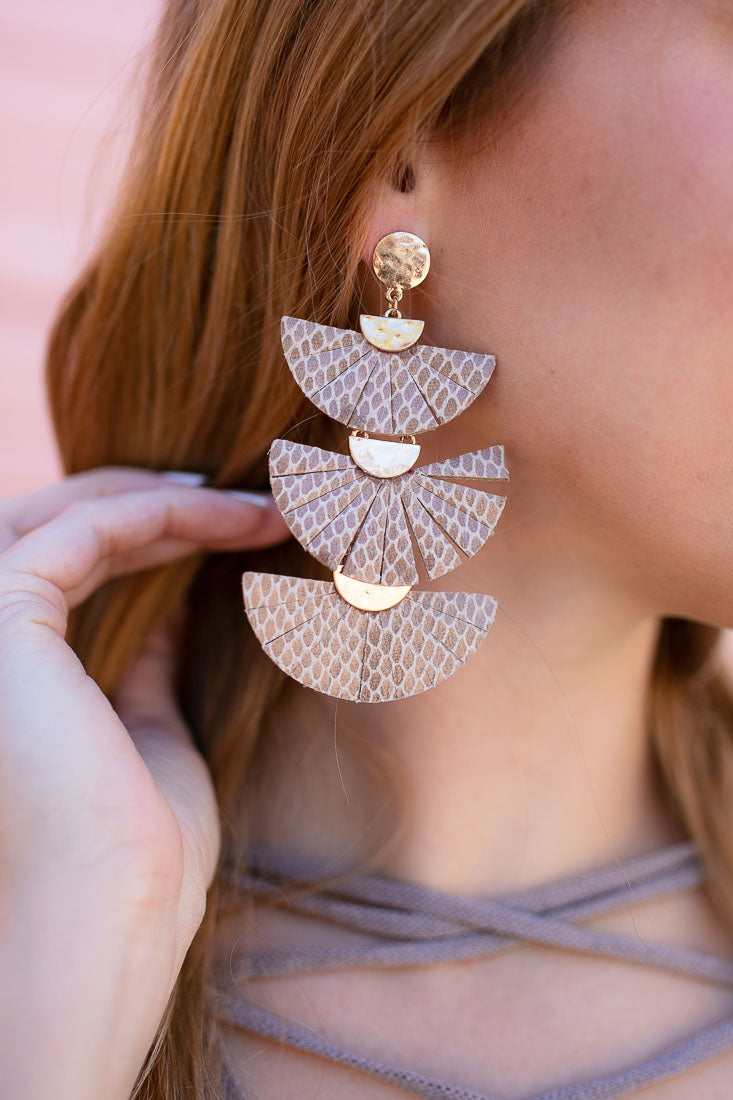 Layered Fan Neutral Earrings