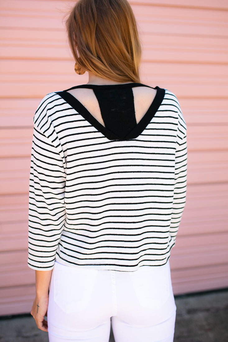 Black and White Stripe Top