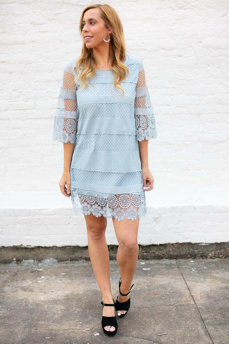 Sky Blue Lace Shift Dress
