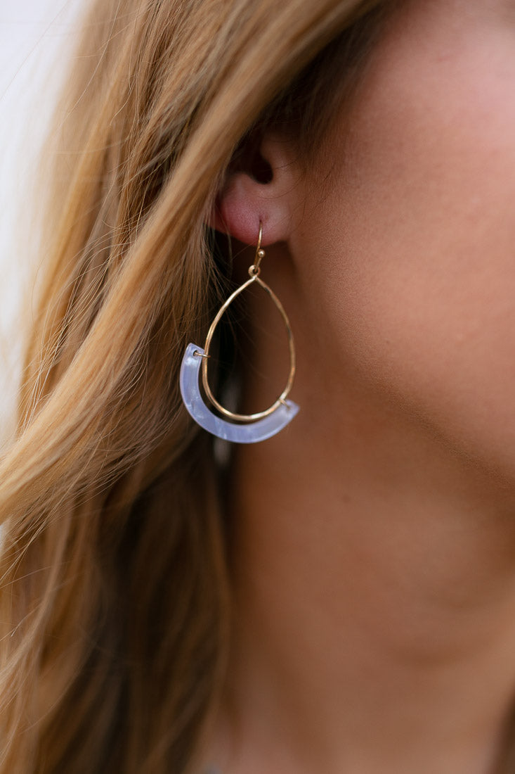 White Resin Teardrop Hoop Earrings