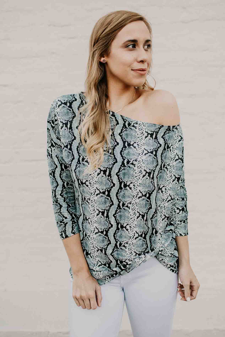 Pretty Little Python Print Off Shoulder Top Mint