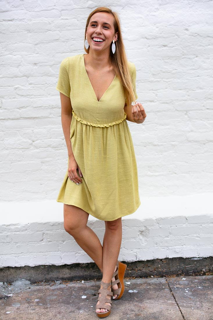 Chartreuse Linen Look Babydoll Dress