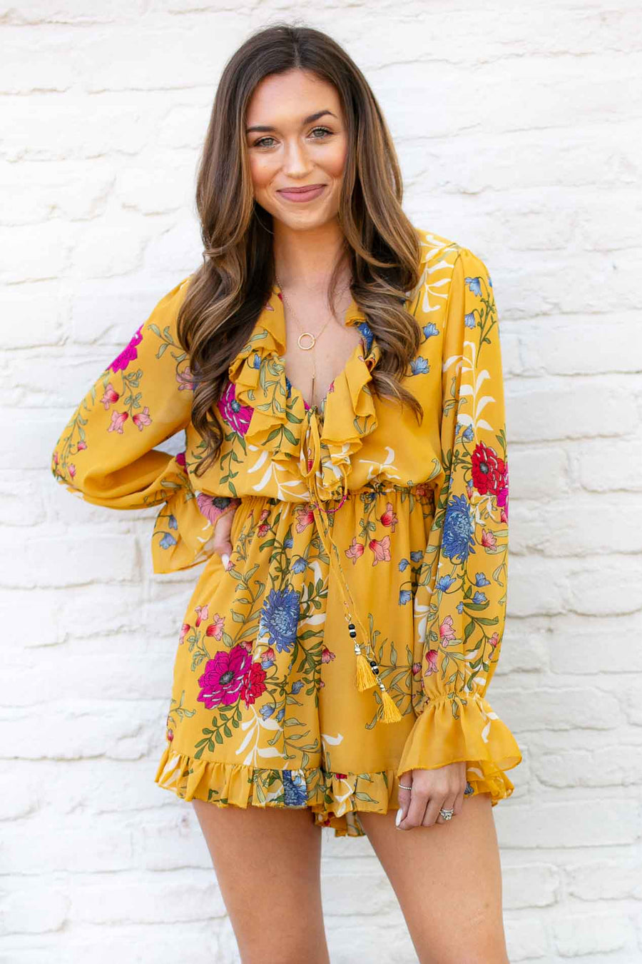 Mustard Floral Romper with Ruffles