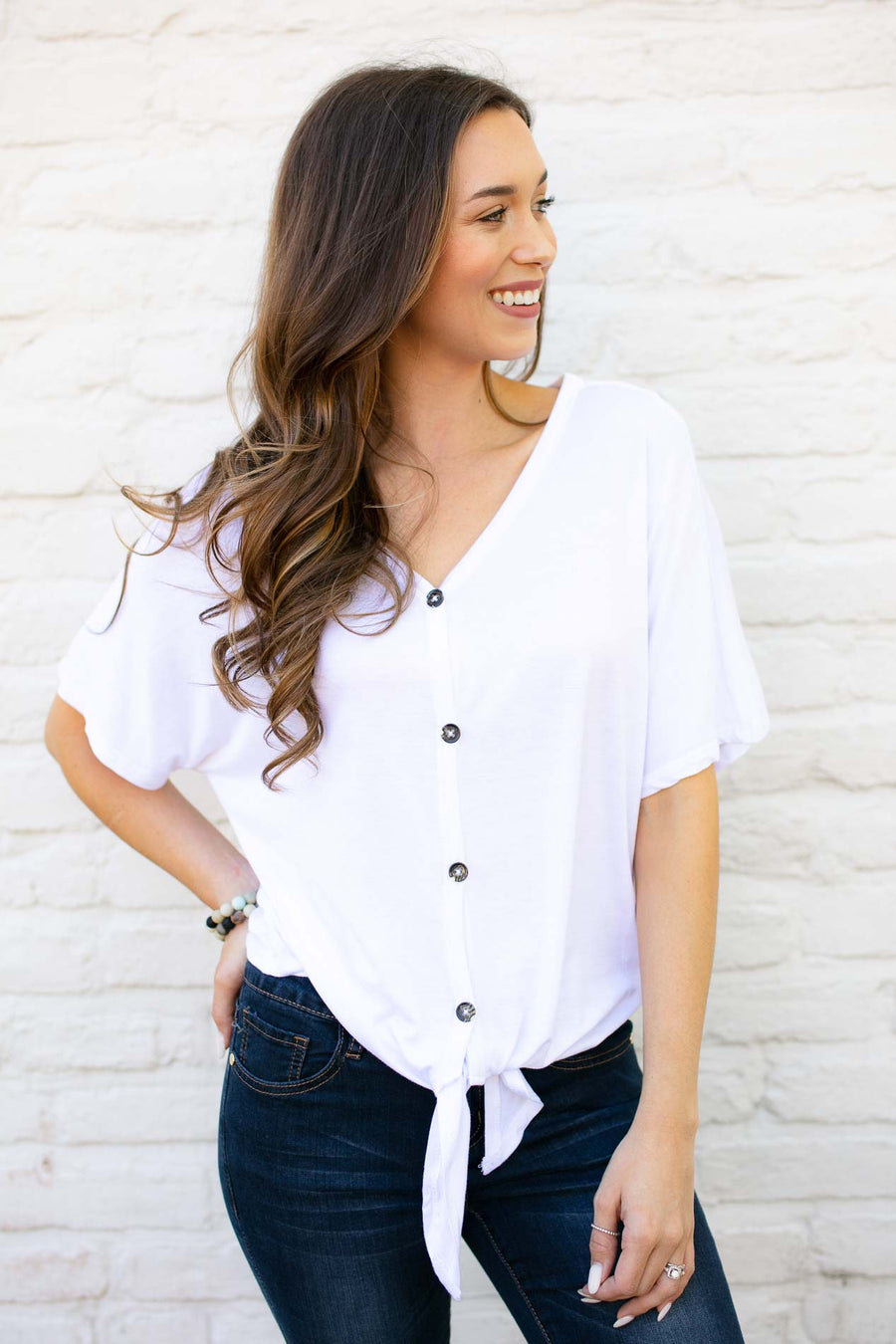 White Button-Up Tie-Front Top