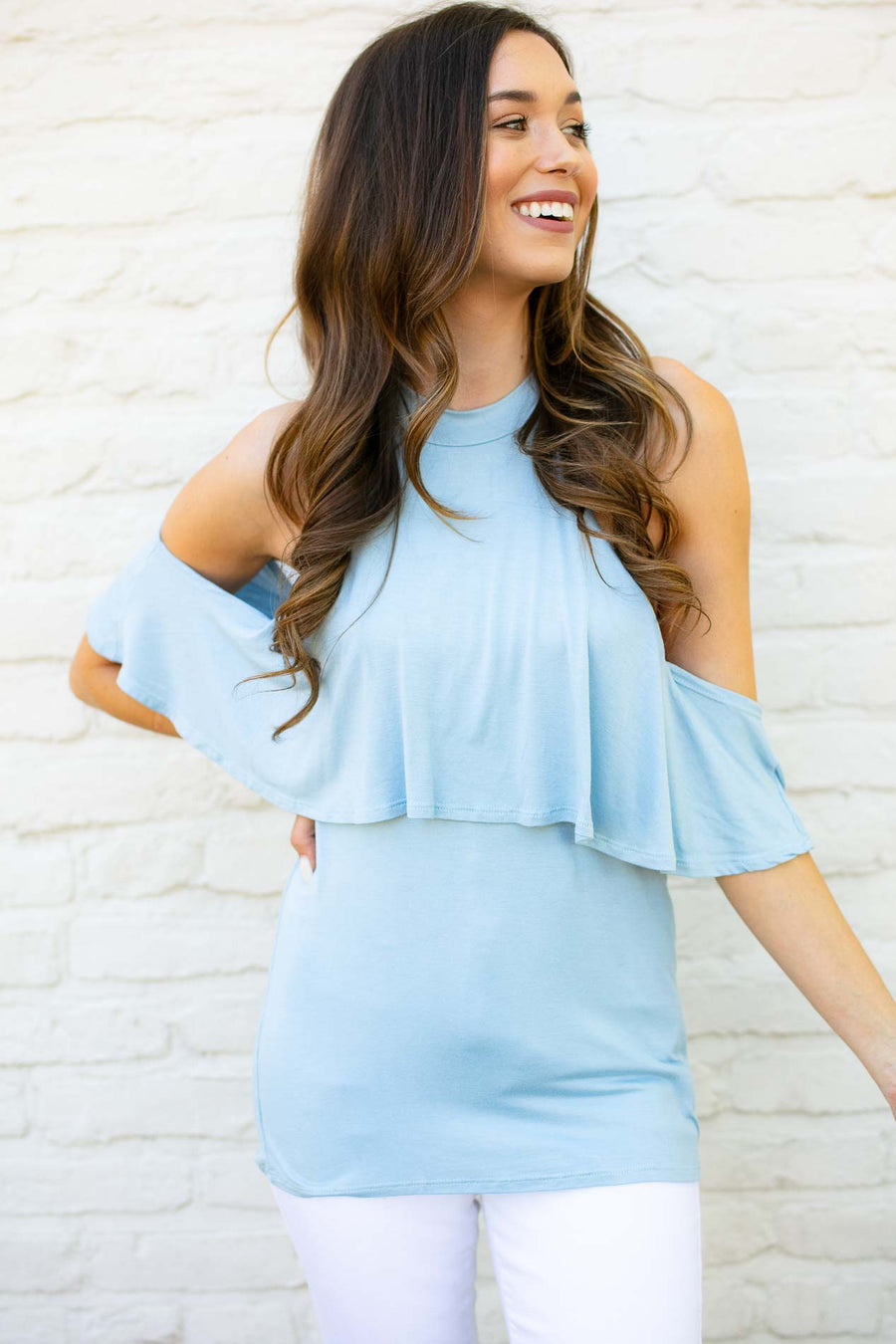 Baby Blue High Neck Cold Shoulder Top