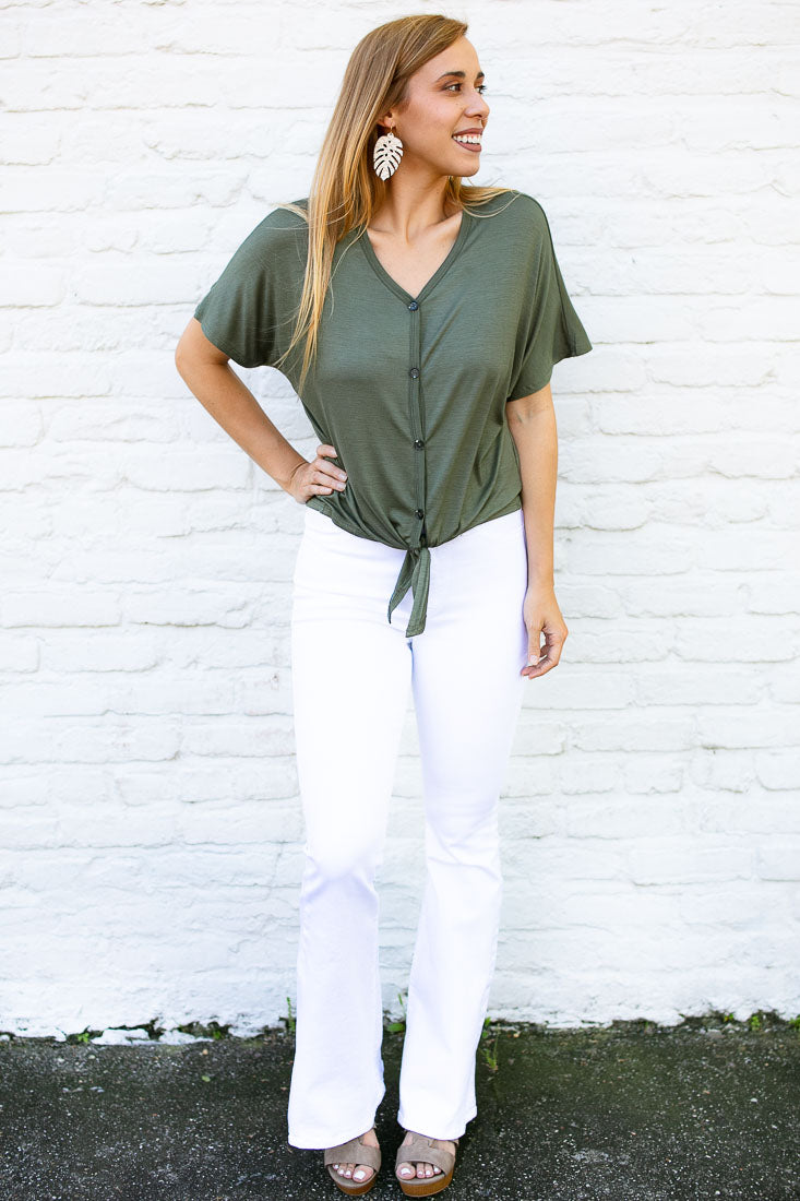 Lucy Button-Up Tie-Front Top in Olive