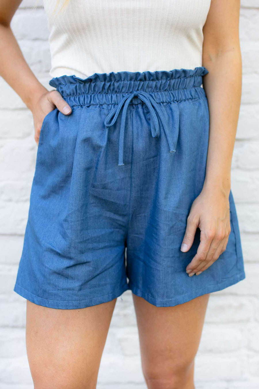 High Waisted Chambray Shorts