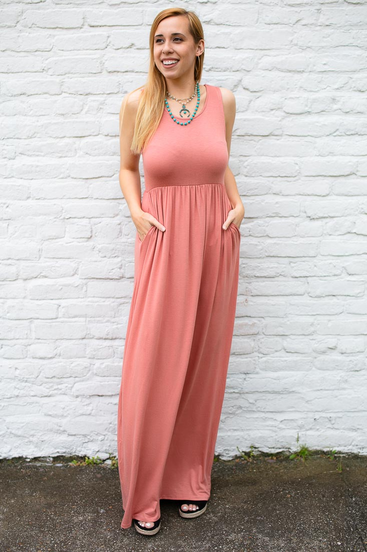 Why Wait Rose Sleeveless Maxi Dress