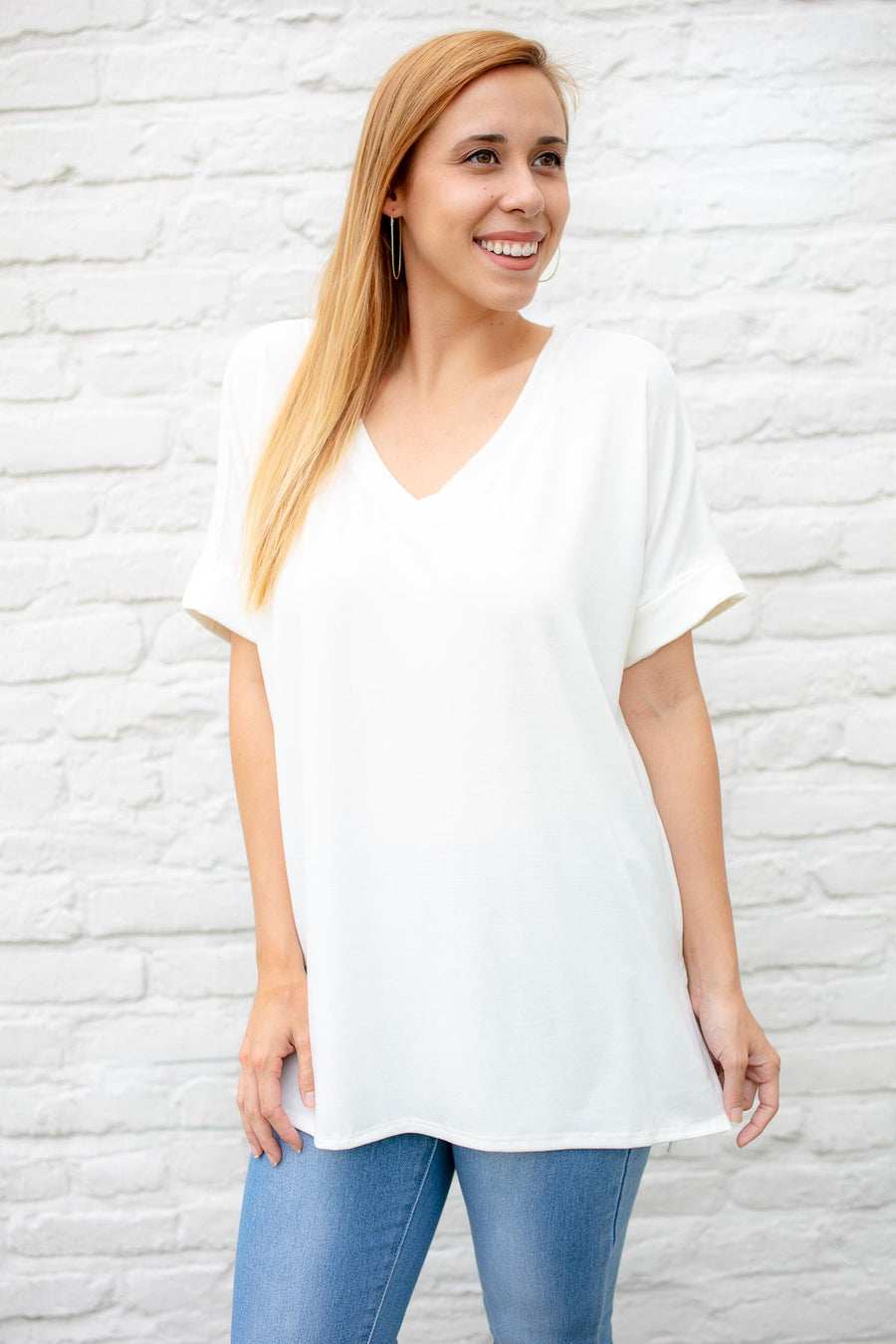 ad527e8ab59c Women s Casual White Dolman Sleeve Top
